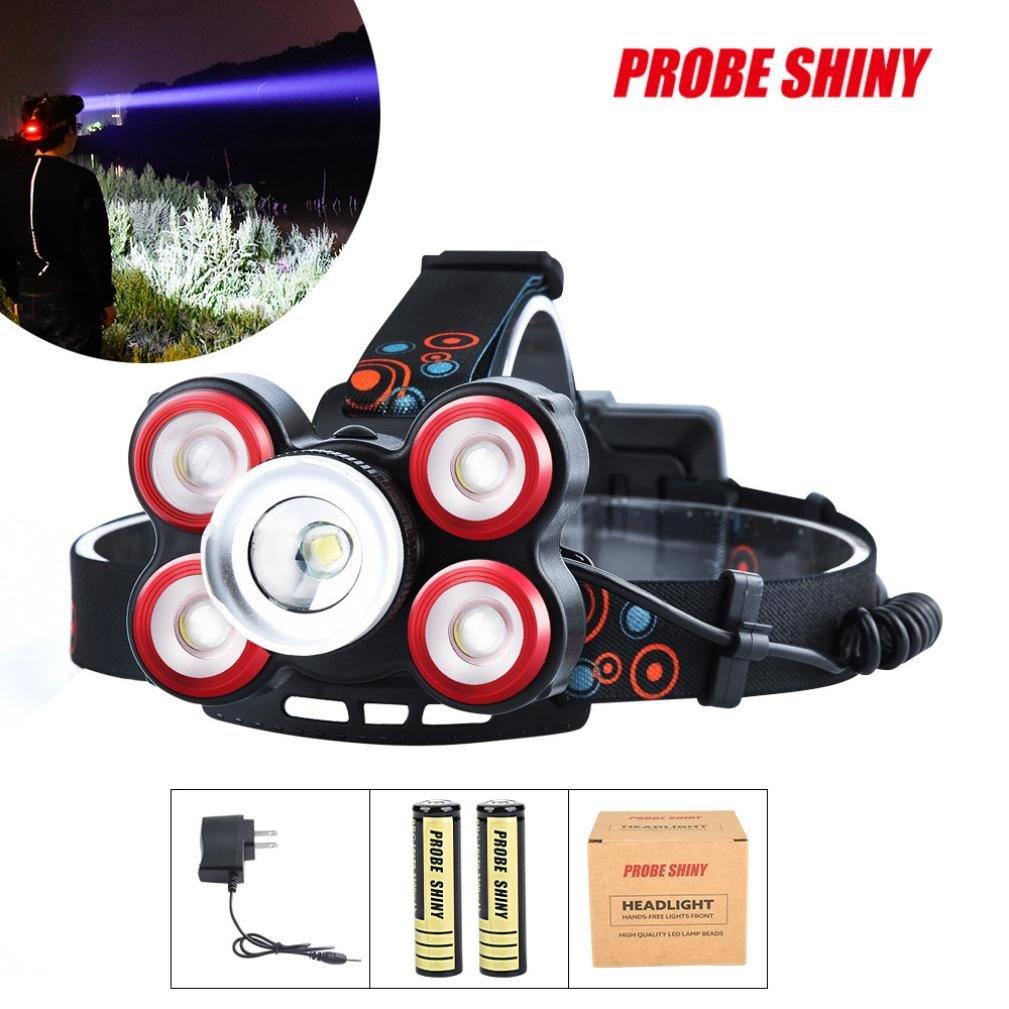 Hatoys Waterproof Head Flashlight Lamp with 1x XM-L T6 LED Rechargeable 18650 Headlight (Black)