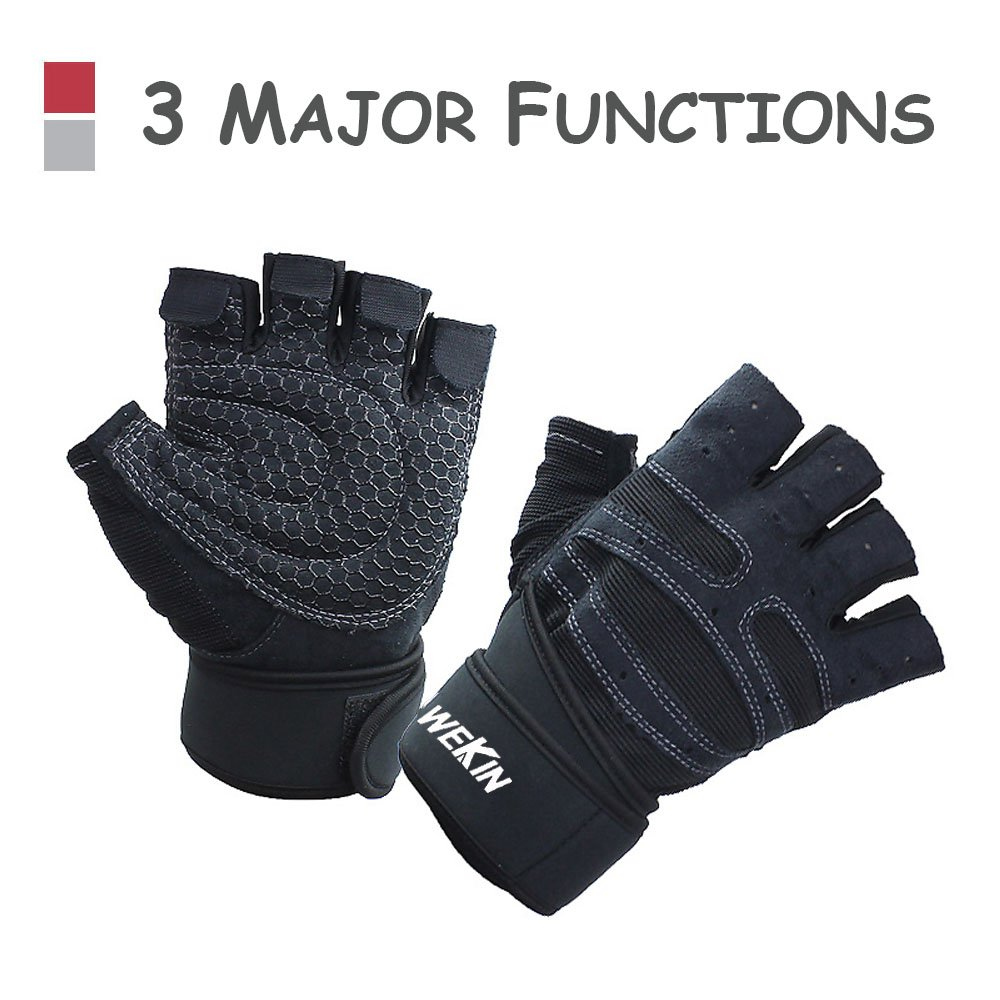 Professional Weightlifting Powerlifting Gloves with THICK WRISTER Gives GOOD Protection for Wrist, NO Calluses in Fitness, and Anti-Slip in Exercise