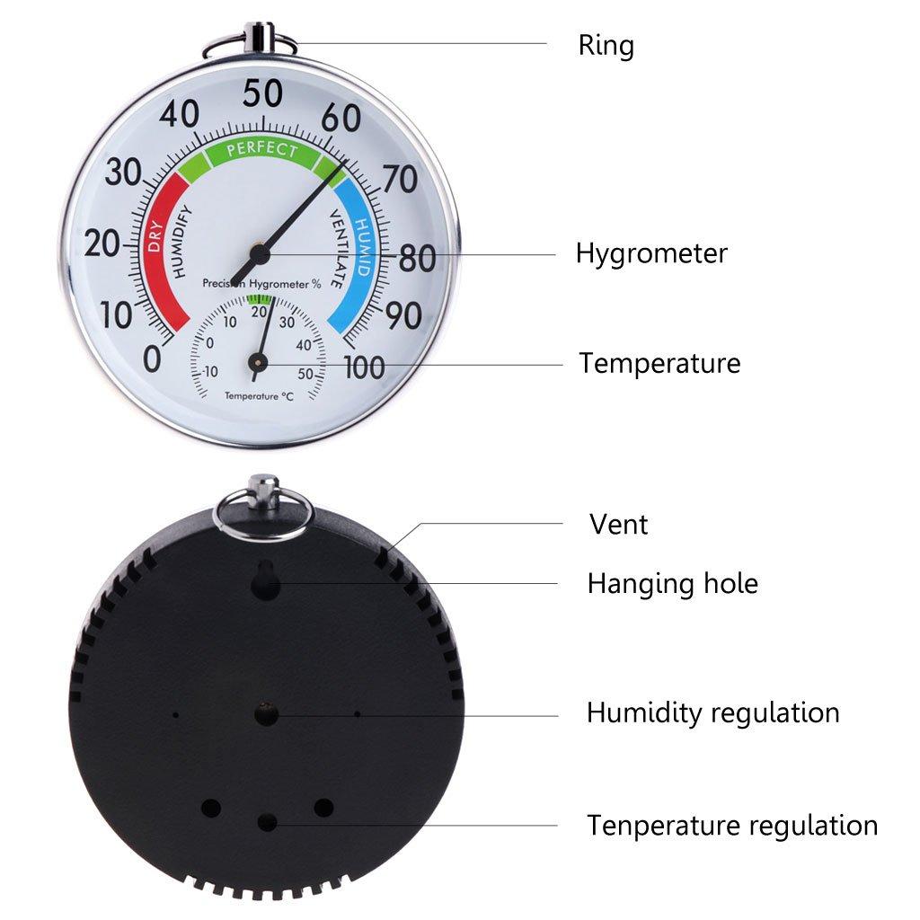 Indicador anal/ógico de temperatura y humedad para interiores y exteriores JENOR term/ómetro higr/ómetro