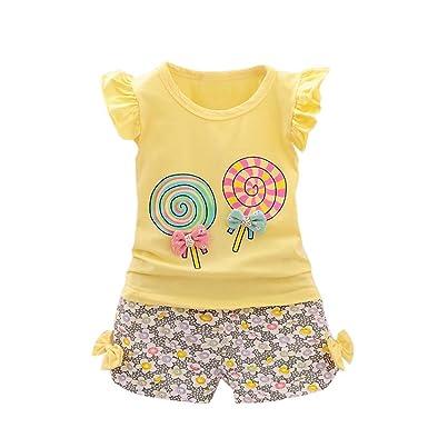 2f9b07052 Ropa para bebés,2pcs bebé niñas ropa floral Set Tops + Pantalones