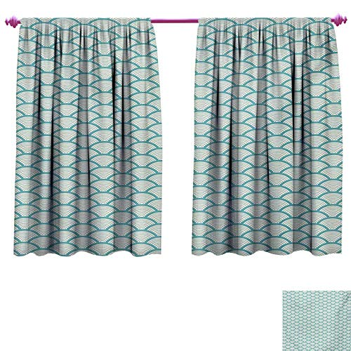 cobeDecor Beach Patterned Drape for Glass Door Narrow Striped Conceptual Sea Waves Pattern Circular Rounded Rippled Swirled Blackout Window Curtain W108 x L72 Sky Blue White