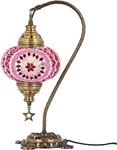 DEMMEX 2019 Turkish Moroccan Mosaic Table Lamp with US Plug & Socket, Swan Neck Handmade Desk Bedside Table Night Lamp, Decorative Tiffany Lamp Light, Pink