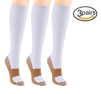 6 Pares Rodilla Alta medias / Calcetines de Compresión para Hombres y Mujeres - Fibra de