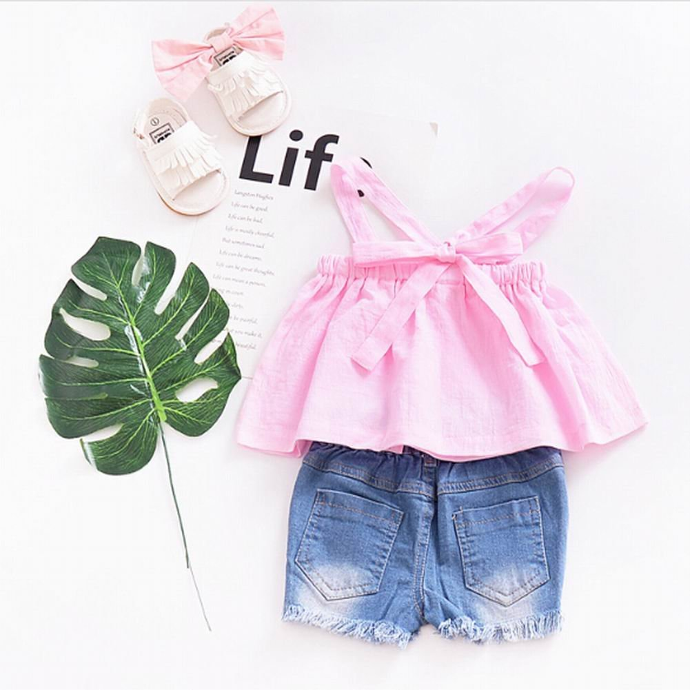 housesweet Fashion Cute Baby Girls Summer Pink Cotton Halter Tops Sling Clothes