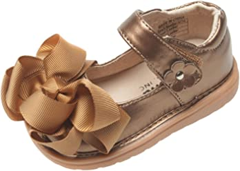 b1b207fca20c Mooshu Trainers Little Girls Bronze Bow Squeaky Mary Jane Shoes 5-9 Toddler