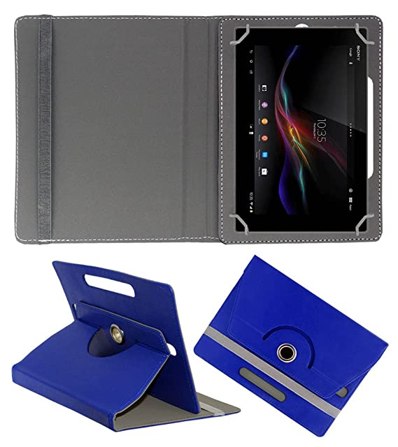 ACM Rotating 360 deg; Leather Flip Case for Sony Xperia Z4 Tablet Cover Stand Dark Blue Tablet Accessories