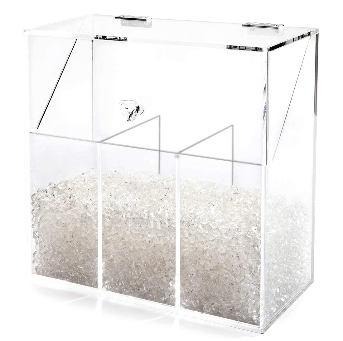 Newslly Acrylic Clear Covered Makeup Brush Holder with Dustproof Lid, Pearls Beads, Large Capacity for Cosmetic Brush Storage (Clear)…