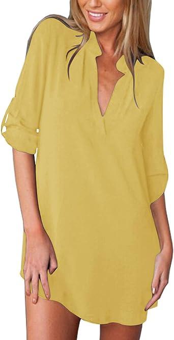 ZANZEA Camisas Mujer Sexy Casual Gasa Camisa Suelta Cuello V Manga Larga Blusa Tops Tallas Grandes Elegante Invierno Camiseta Estampada: Amazon.es: Ropa y accesorios