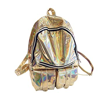 717771ceb Amazon.com: M-BAG Women Fashion Brilliant Hologram Laser Pu Leather Laptop  Shoulder Bag School Backpack Gold: Clothing