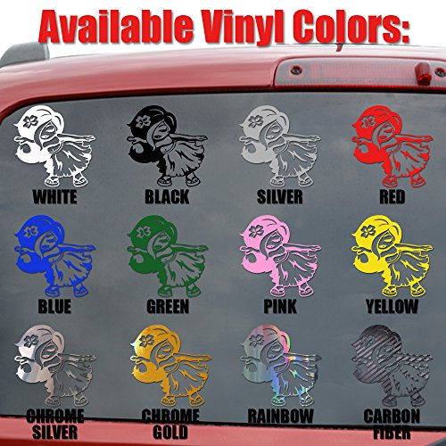 Sexy Angel Devil Girls Shooting Guns Vinyl Decal Sticker- 6'' Wide Chrome Silver Color by Crazydecals (Image #1)