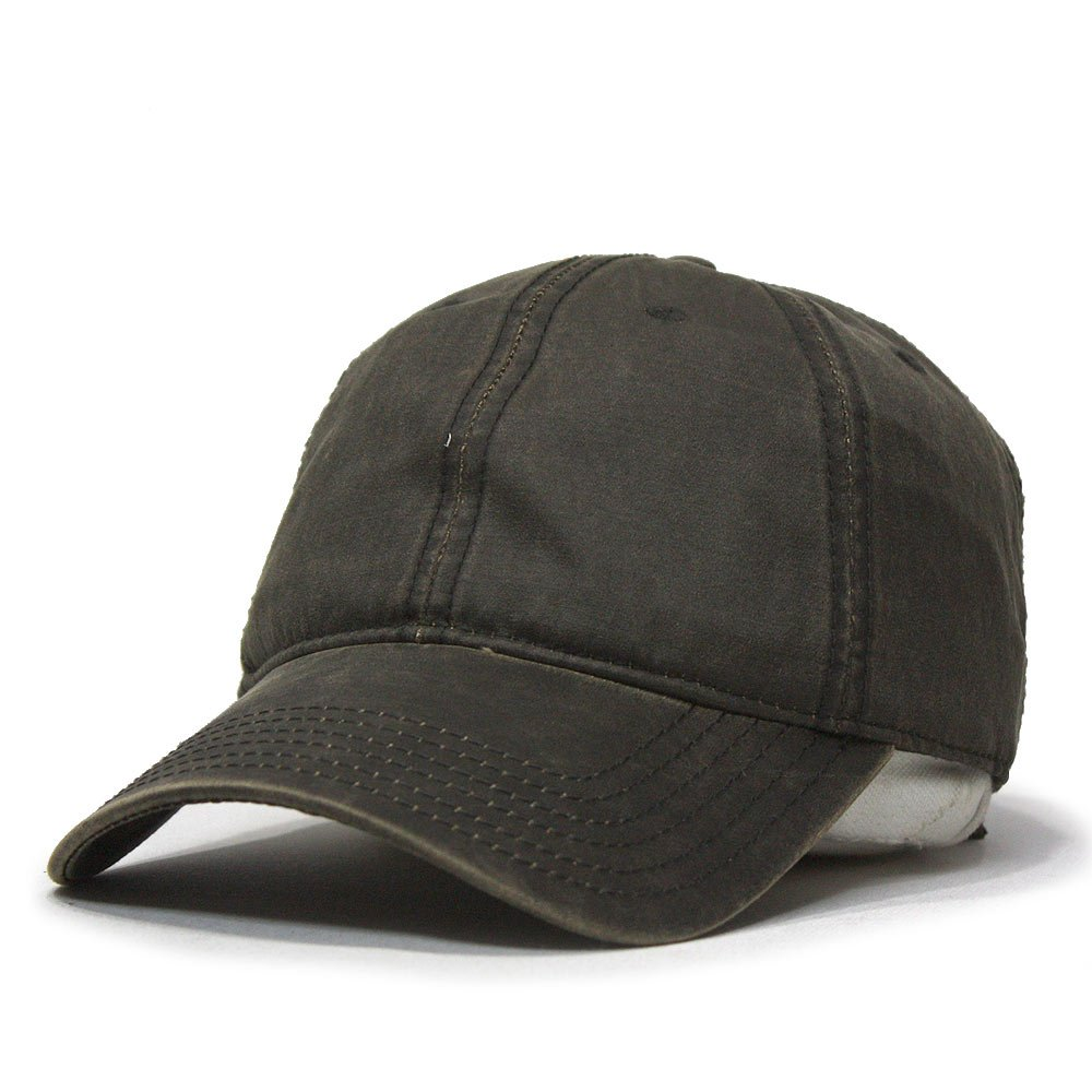 Heavy Washed Wax Coated Adjustable Low Profile Baseball Cap (Various Design) (Brown/without Buckram)