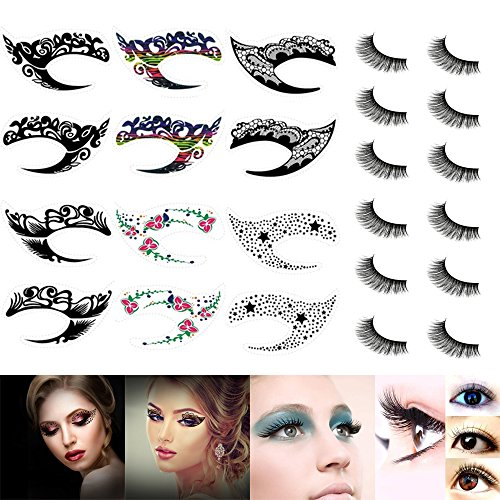 6 Pairs Temporary Eye Tattoo Stickers with 6 Pairs 3D False Eyelashes, Natural Long Fake Eyelashes and 6 Pairs of Make Up Eyeliner Eyeshadow Stickers, Attractive and Fashionable
