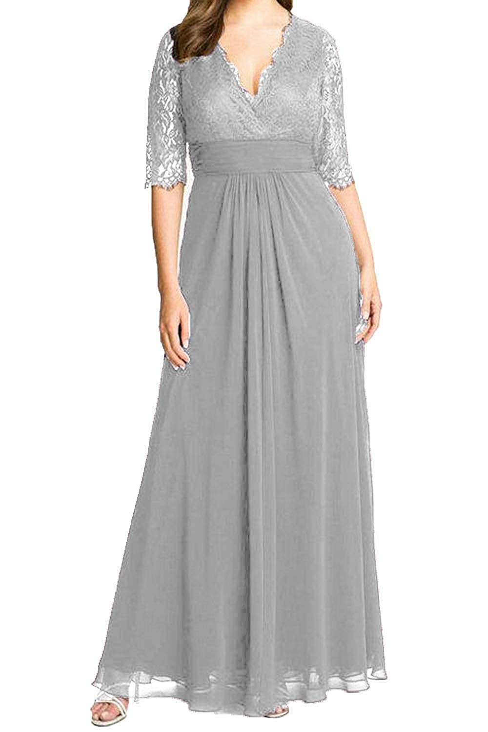 b22ef095757 RONGKIM Women s V Neck Lace Chiffon Mother of The Bride Dress Long Evening  Dresses with Sleeves at Amazon Women s Clothing store