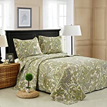 Brandream Green Paisley Bedding Set Country Style Bed Quilt Set Queen Full Size