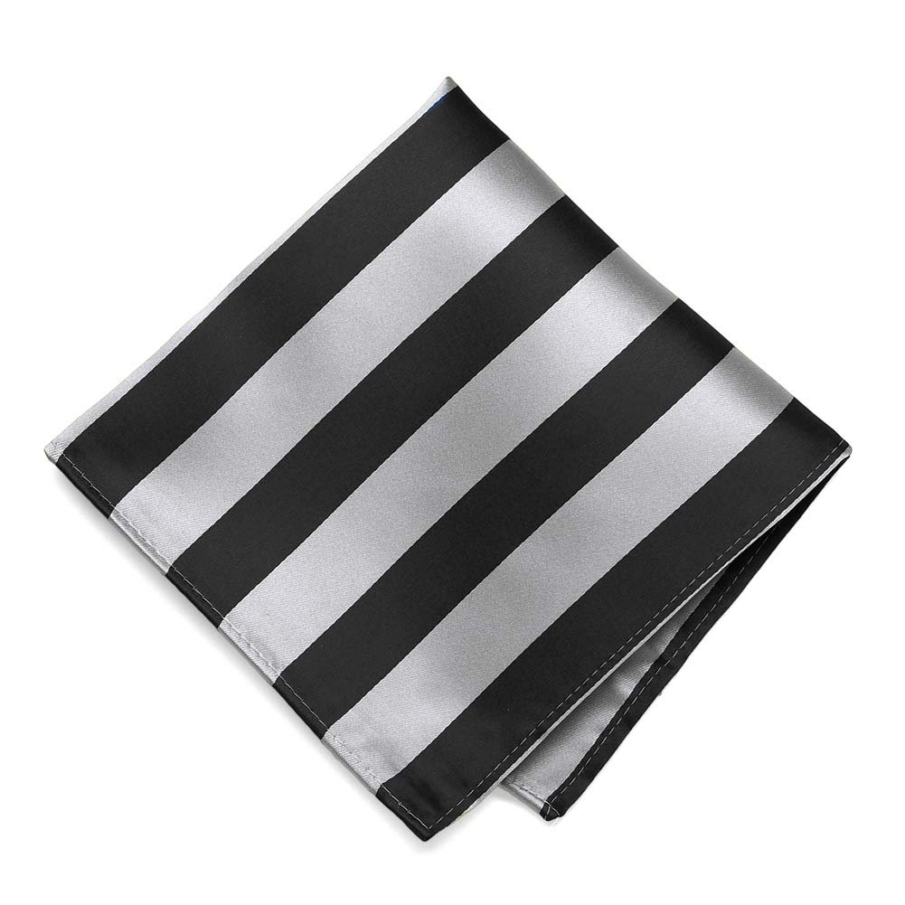 TieMart Black and Silver Striped Pocket Square IS12PP-1210