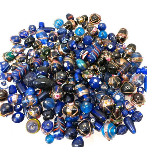 - 75 Grams Of Cocoa's Premium Bumpy Dot Beads Lampwork Collection, Variety of Colors and Sizes 8mm-24mm Small to Large (Fancy Cobalt Blue)