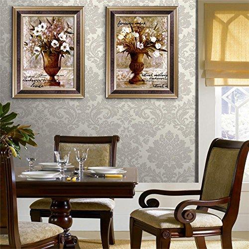 HomJo European Vases PVC Framed paintings Tarpaulins Decorative Paintings Paintings Canvas Waterproof Living Rooms Restaurants Bedrooms Wall Art Artwork (With frame) Pack of 2 , (Thomas Victorian Tapestry)