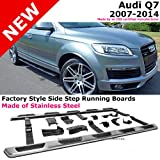 2007 to 2014 Audi Q7 07-14 Stainless Steel Running Board Side Steps Nerf Bars Gunmetal Black Color