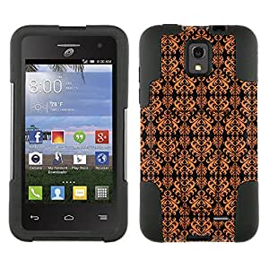 Alcatel OneTouch Pop Star Hybrid Case Victorian Damask Orange on Black 2 Piece Style Silicone Case Cover with Stand for Alcatel OneTouch Pop Star