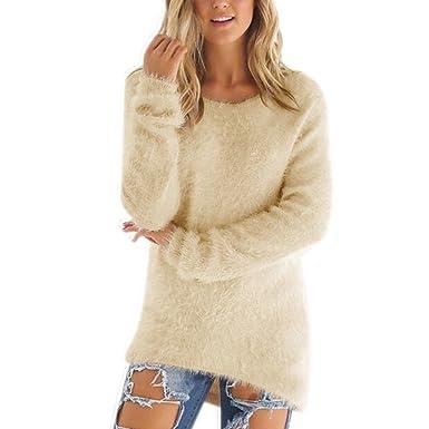 on sale 7f7fc c7299 semen Damen pullover Kuschelig Strick Langarm Pulli Fell Langarmshirt  Sweater Weich Süß Lässig Warm in vieler Farbe