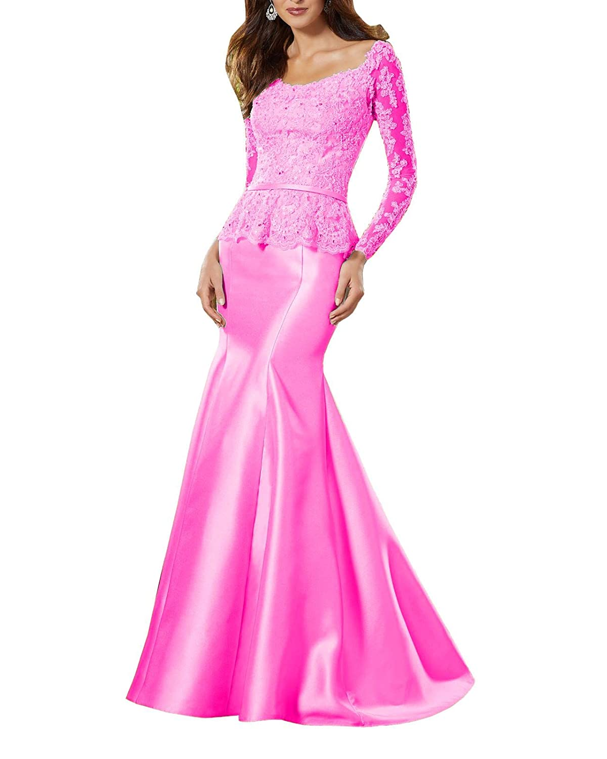 Hot Pink Wanshaqin Women's Heavy Beaded Lace Formal Evening Gown Stunning Silk Party Dress with Empire Waist