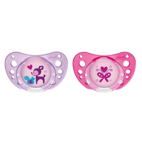 Chicco Physio Air - Pack de 2 chupetes de látex/caucho para 6-16 meses, color rosa