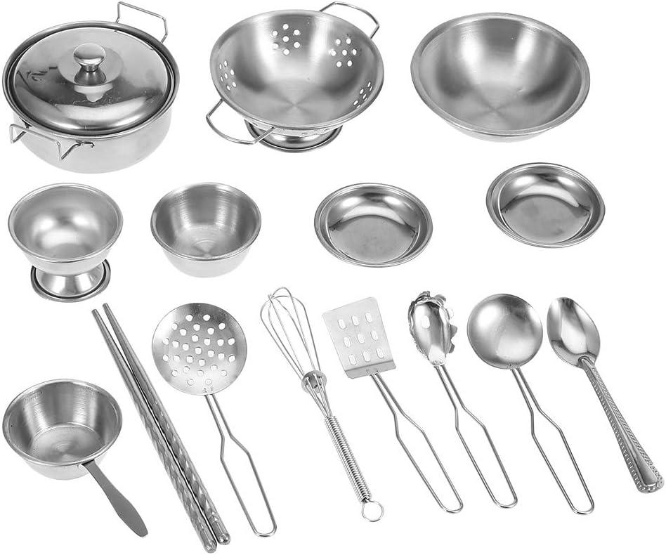 Utensilios de Cocina para niños Juguetes, Utensilios de Cocina Utensilios de Cocina de Acero Inoxidable Utensilios de Cocina Juego de sartenes para niños(16PCS )