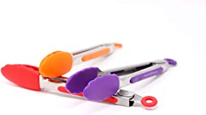 7-Inch Mini Silicone Kitchen Stainless Steel Tongs - Set of 3 (Red, Orange, Purple) - Mini Tongs for Serving Food, Cooking, Salad and Grilling