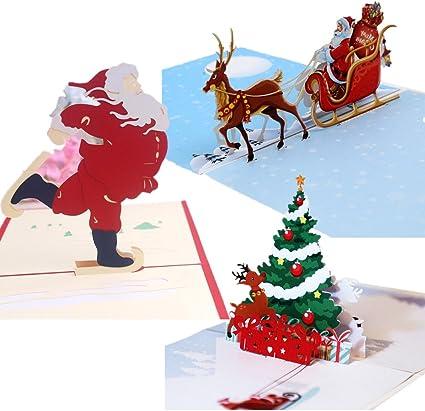 3d Pop-up tarjetas para mejores deseos en Navidad, cumpleaños, Festival, color Pack de 3: Amazon.es: Oficina y papelería