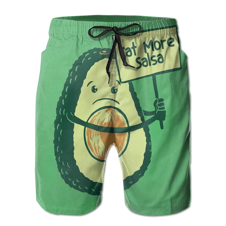 5a7d1ef902bf12 Cartoon Avocado Men s Swim Trunks With Pockets Summer Shorts Bathing Suit  Swimwear For Men well-