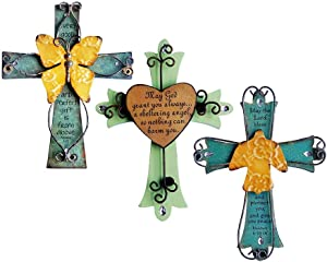 Sell4Style Unique Wooden Crucifix with Antiqued Metal Decorative Heart and Inspirational Prayer Inscribed On Cross (Assorted Colors)