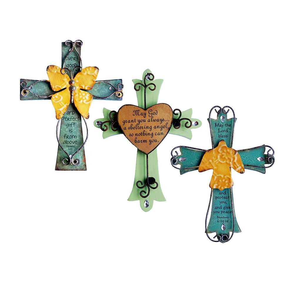 Unique Wooden Crucifix With Antiqued Metal Decorative Heart And Inspirational Prayer Inscribed On Cross (Assorted Colors) by Sell4Style