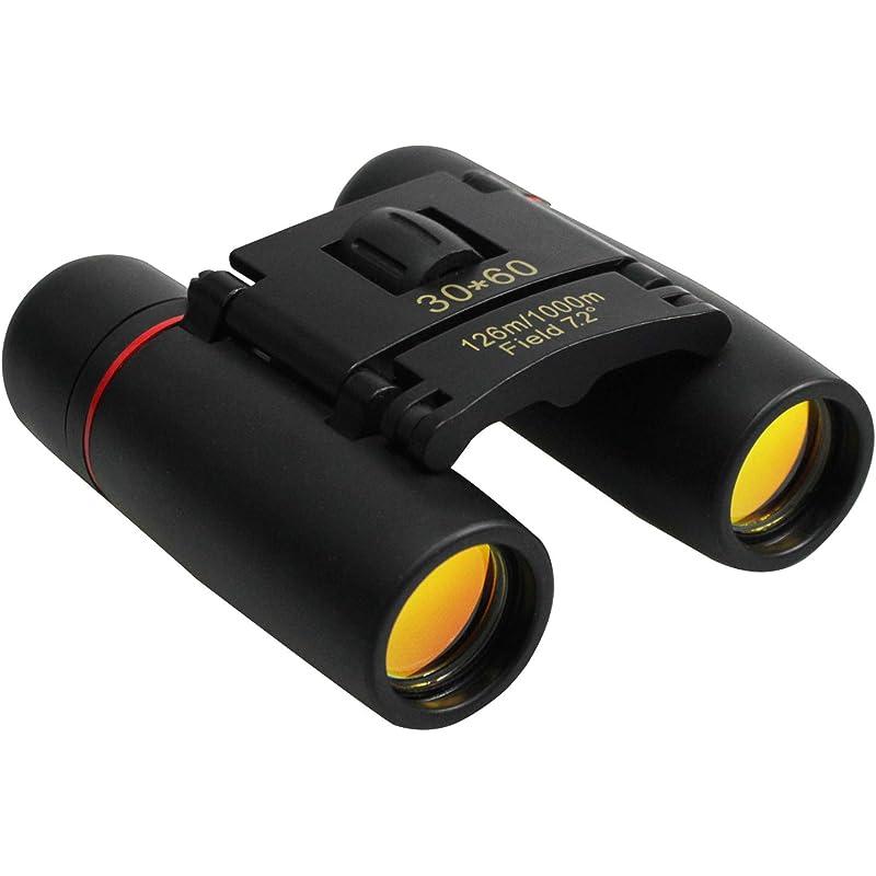 Binoculares para adultos niños, Prismáticos Pequeños y Potentes Compactos Plegables Duraderos Binoculares para observación de Observación de Aves, Senderismo, Astronomía 30x60