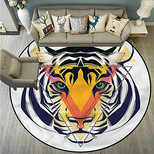 Area Round Rugs,Tiger,Large Cat with Green Eyes,Rustic Home Decor,3'3