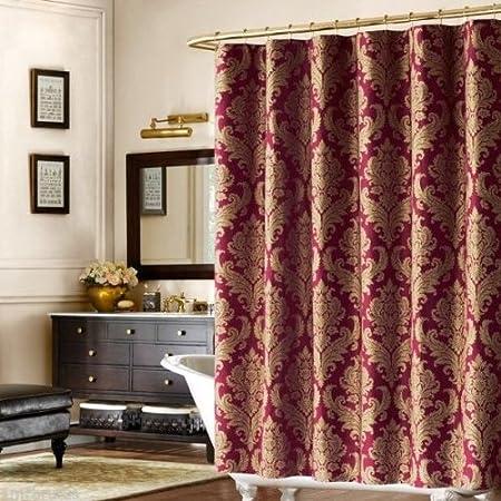 Bombay Pavanne Luxury Dark Red & Gold Damask Fabric Shower Curtain:  Amazon.co.uk: Kitchen & Home