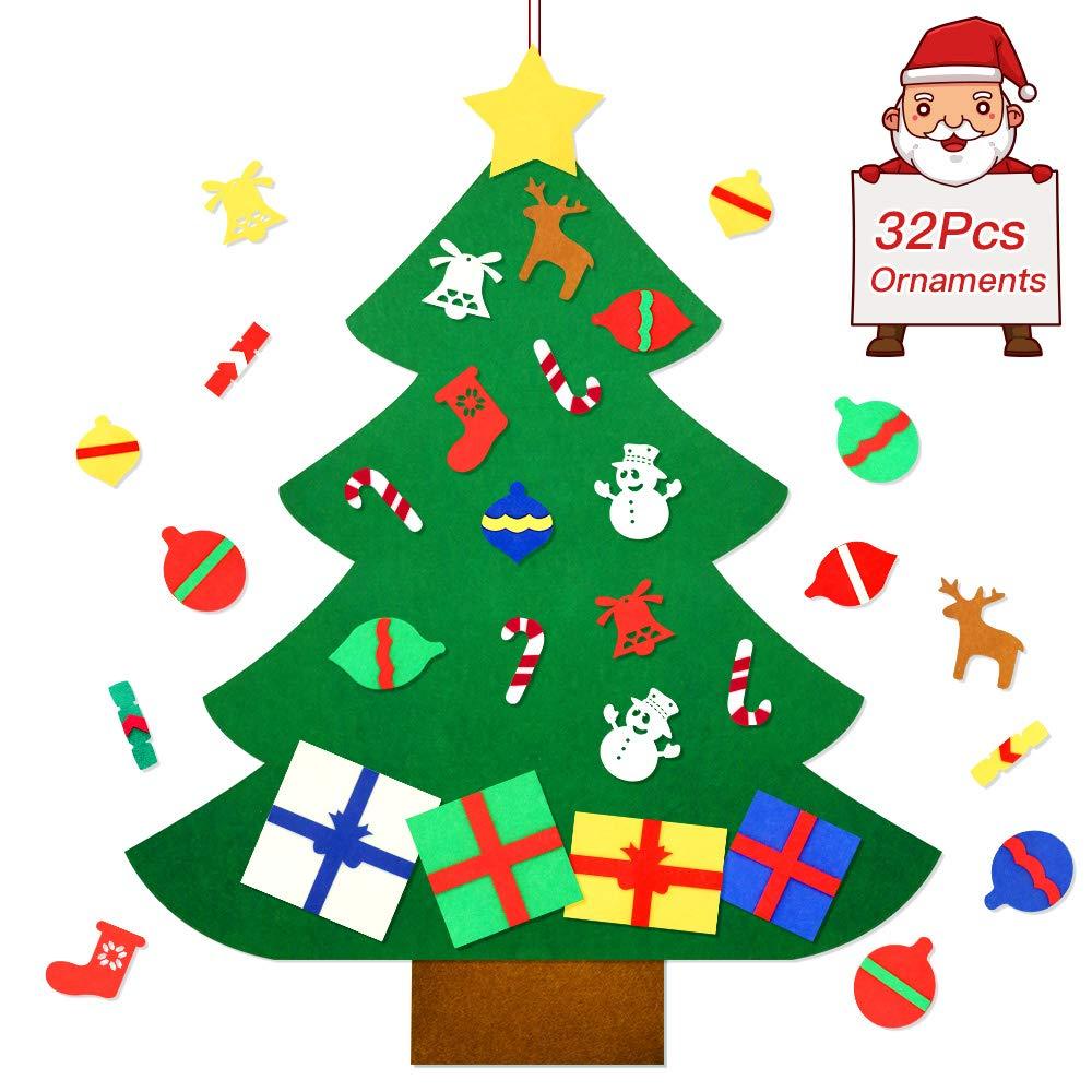 Askmuse Felt Christmas Tree For Kids Diy Wall Christmas Decorations Tree Set Wall Hanging With 32 Pieces Detachable Christmas Ornaments