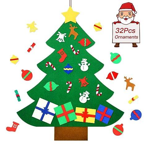 Hanging Christmas Decorations Wall.Befayoo Felt Christmas Tree For Kids Diy Wall Christmas Decorations Tree Set Wall Hanging With 32 Pieces Detachable Christmas Ornaments
