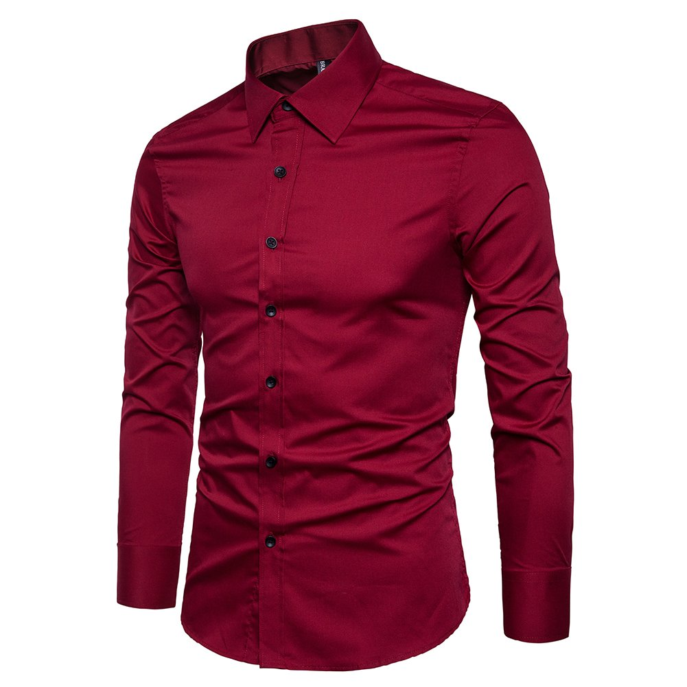 Manwan walk Men's Slim Fit Business Casual Cotton Long Sleeves Solid Button Down Dress Shirts (Large, Wine red) by Manwan walk (Image #2)