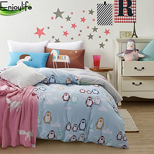 Enjoylife Zoological Park Bedding Sets 100% Coton Bedroom 3 pcs, Penguin Duvet Cover for Kids/Teens/Adults Quilt Cover Cartoon Cute Animal(Penguin A, Twin)