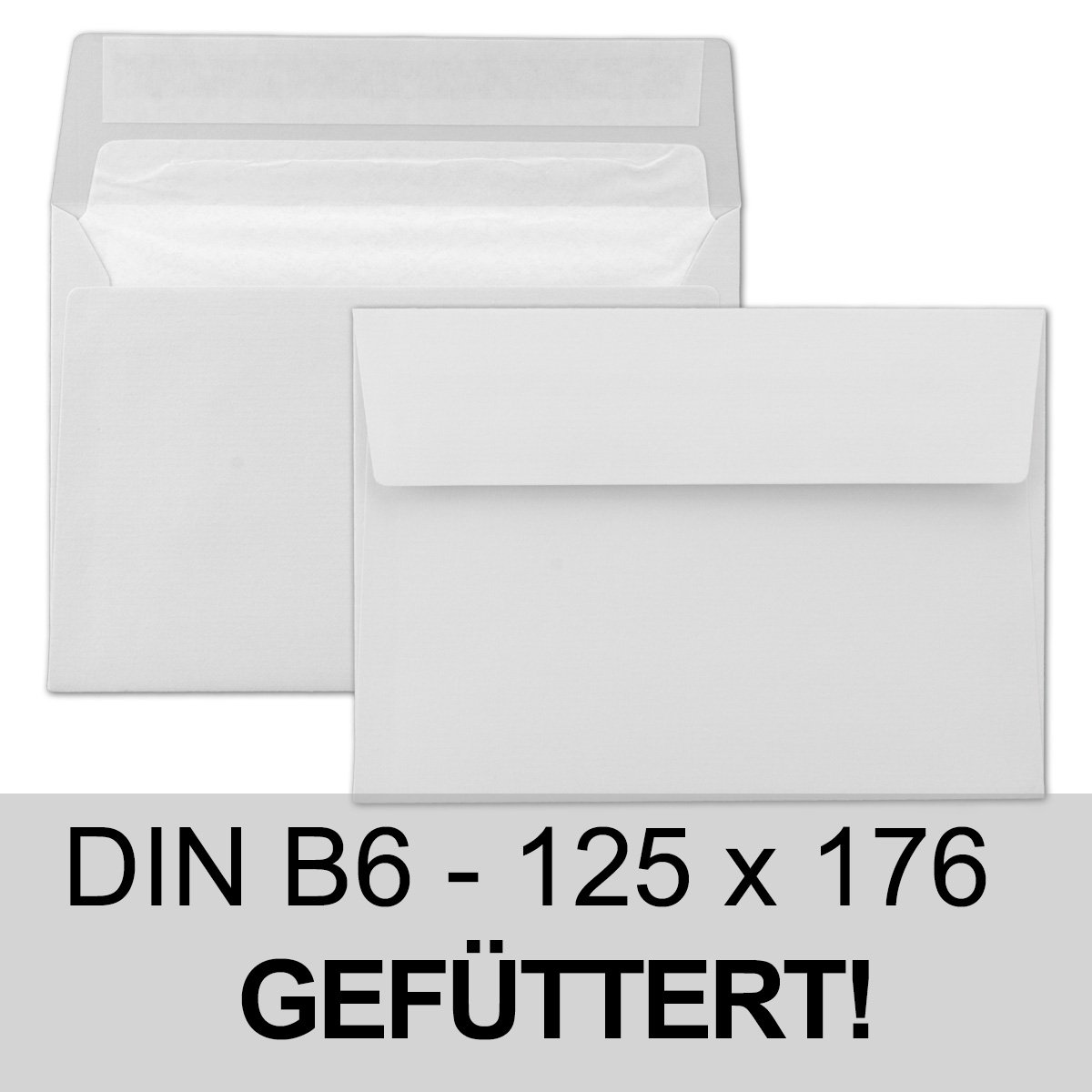 Paper24 Envelopes Size B6 light grey/grey lined, 100 g/m² - 125 x ...