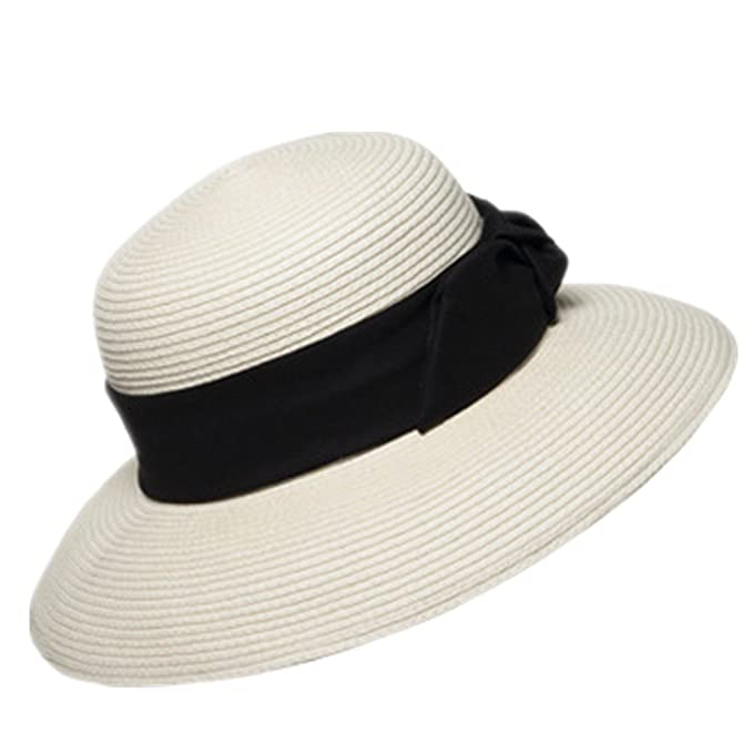 09ebf877681 Home Prefer Women s Straw Beach Hat UPF 50+ Sun Caps Wide Brim Bowknot  Ribbon Ivory at Amazon Women s Clothing store