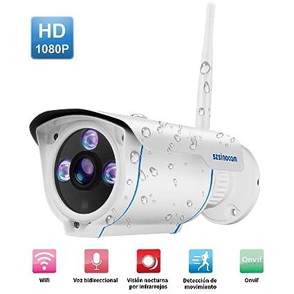 Cámaras de Vigilancia Wifi,2 Vías de audio,SZSINOCAM 1080P P2P IP66 movimiento de alarma IP CCTV Camara Seguridad Interior/Exterior IP camera Wifi con ...