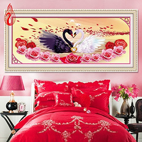 YGS-132 DIY 5D Diamonds Embroidery Love is better than gold Swans Round Diamond Painting Cross Stitch Diamond Mosaic Home Décor