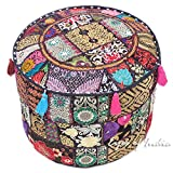 Eyes of India 17 X 12 Round Black Pouf Pouffe Ottoman Cover Floor Seating Bohemian Boho Indian
