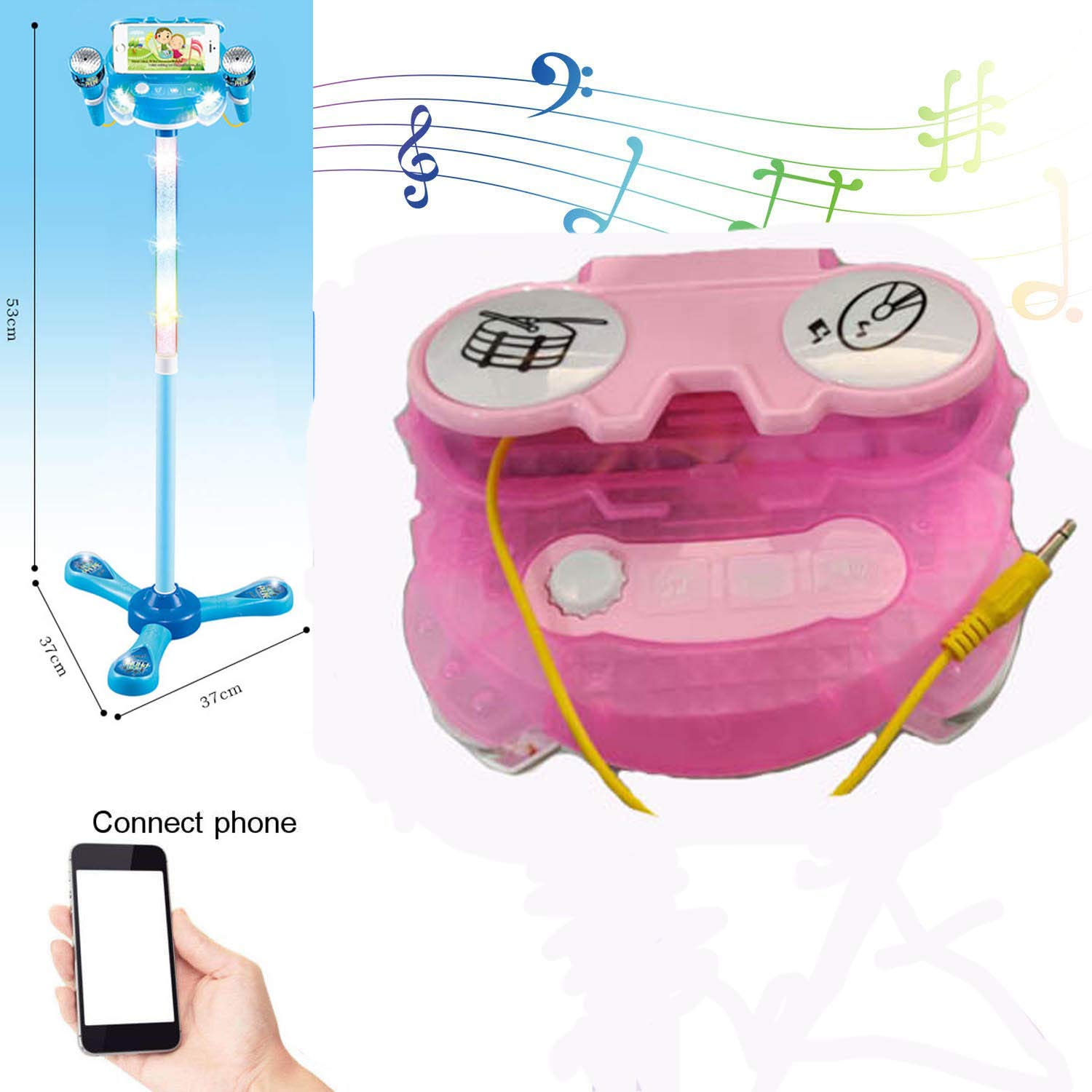 Elrido Kids Karaoke Machine with 2 Microphones and Adjustable Stand, Karaoke Machine Compatible with Cell Phone/MP3,Music Sing Along with Touch Button for Fun Musical Effects (Pink) by Elrido (Image #5)