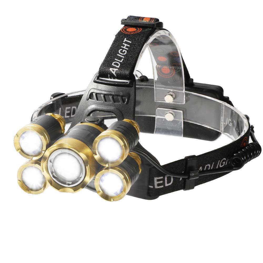 Shanke Linternas Frontal LED Linternas de Cabeza Alta Potencia 8000 Lú menes, 4 Modos de Iluminació n Baterí a Recargable para Camping, Running, Caza, Pesca, Ciclismo, Luz de Emergencia y Aire Libre