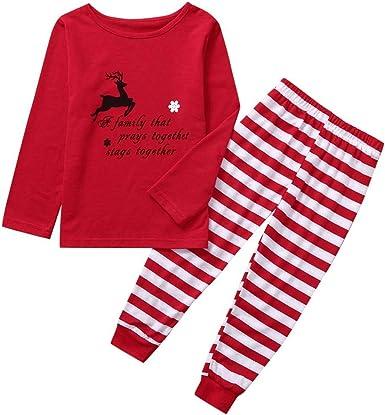 Amlaiworld Navidad Familia Pijamas Ropa de Dormir Conjunto de ...