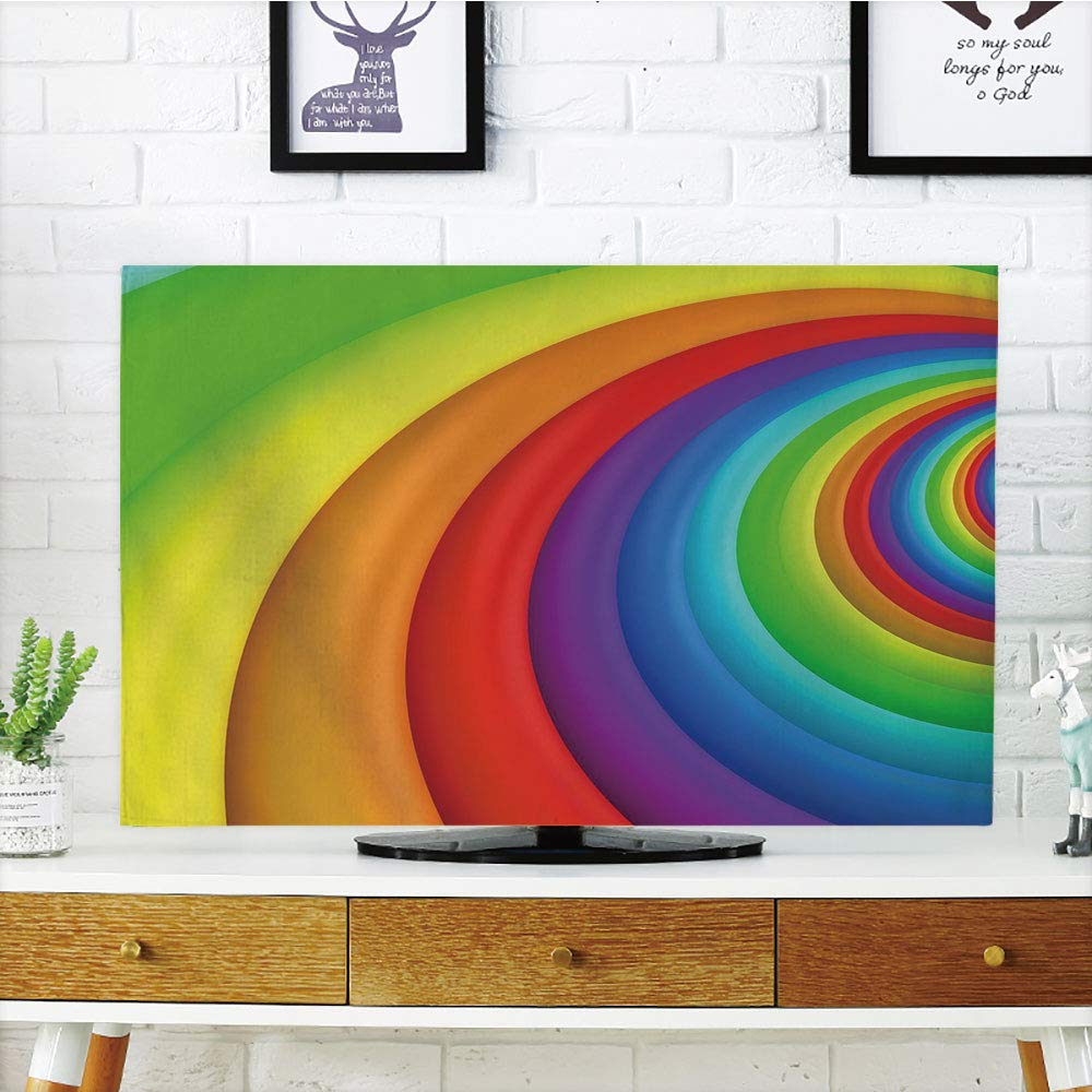 iPrint LCD TV Cover Multi Style,Rainbow,Rainbow Colored Half Circles Getting Bigger and Bigger Perspective Computer Graphic,Multicolor,Customizable Design Compatible 65'' TV
