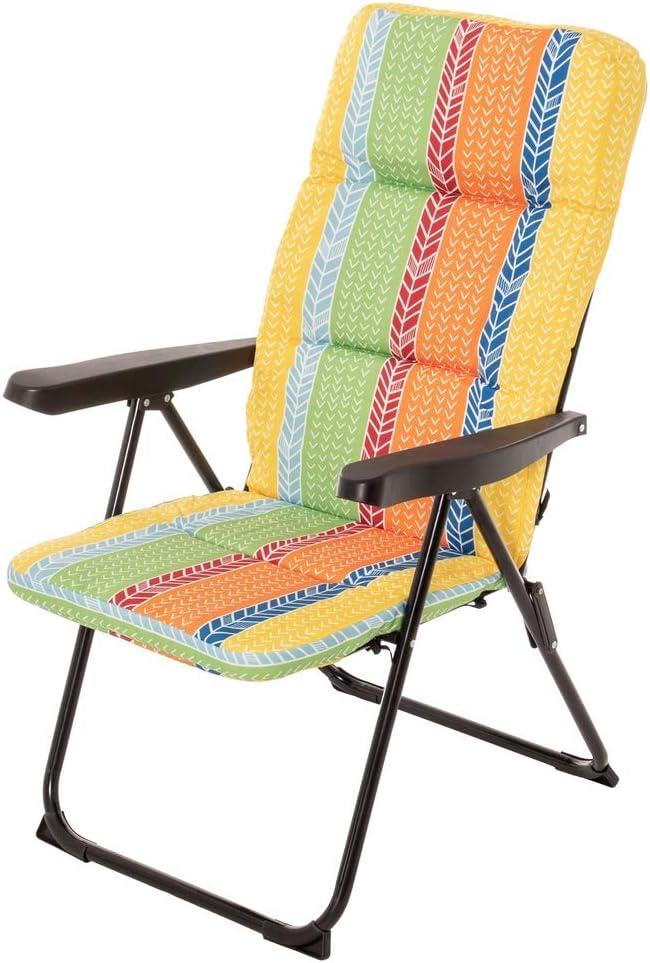 LOLAhome Sillón Plegable con Acolchado de Acero de Camping o Playa Garden (Naranja)