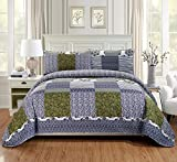 Purple and White Quilt Cover Fancy Linen 2pc Twin/Twin Extra Long Quilt Bedspread Set Over Size Bed Cover Squares Floral Stripped Zig Zag Green Purple Blue White New